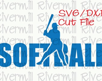 SVG DXF Softball Word Cut File