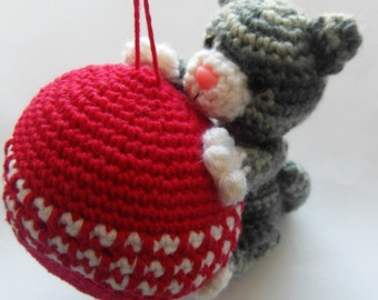 PATTERN ONLY - Purrfect Kitty Ornament - PDF crochet instructions-instant download