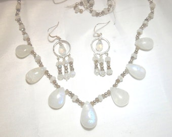 Rainbow moonstone necklace,moonstone earrings,moonstone jewelry,labradorite, and sterling silver necklace set