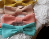 Mustard yellow, dust pink, coral, mint blue bow ties. Order separately or together!