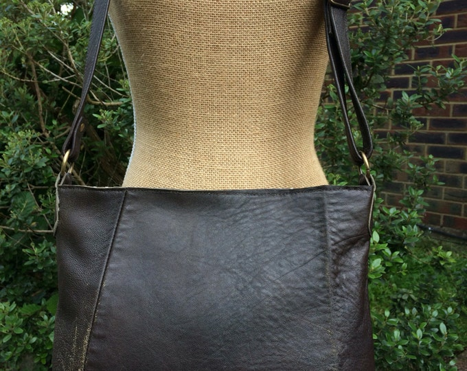 Recycled leather bag - Distressed Brown leather crossbody-shoulder bag- adjustable strap- zip closure. Get 30% off see details