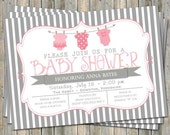 Pink Onesie Baby shower Invitation, typography baby girl shower, pink and gray, Digital, Printable file