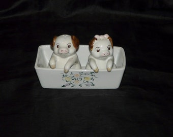 Andrea By Sadek Pig Salt and Pepper Shaker Set Sitting in a Flower Trough White Ceramic Boy Girl Floral Pigs