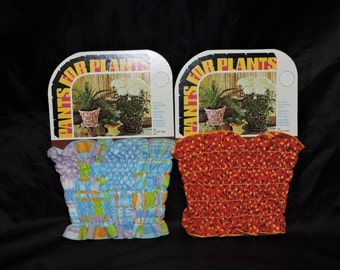 1970s Pants for Plants Fabric Flower Pot Covers Red Yellow Blue Orange Hippie NEW Set of 2