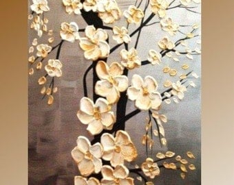 """Original  48"""" abstract contemporary impasto fine art  floral painting by Nicolette Vaughan Horner"""