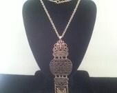 NOW ON SALE Stunning Ornate Bib Necklace ** 1960's Vintage Statement Necklace ** Retro Runway Fringe Necklace **
