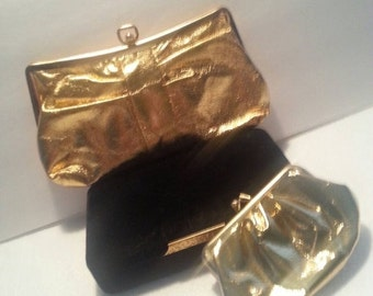 Christmas In July Sale 1940's 1960's Clutch Shiny Gold Handbag Bag Purse & Cosmetic Bag Mad Men Mod Rockabilly Accessories Old Hollywood Gla