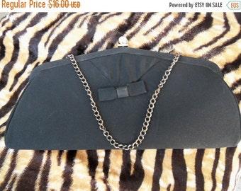 Christmas In July Sale Vintage 1960's Collectible Clutch Purse Rockabilly Mad Men Mod Black Tie Formal Handbag