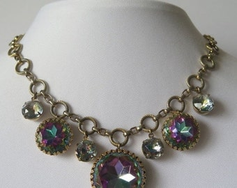 Now On Sale Vintage Watermelon Rhinestone Heliotrope Necklace * High End Purple Blue Pink Collectible * 1960's Mad Men Mod Vintage Jewelry