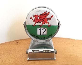 Cymru Am Byth Desk Calendar - Vintage Welsh Souvenir - Long Live Wales - Mechanical Calendar