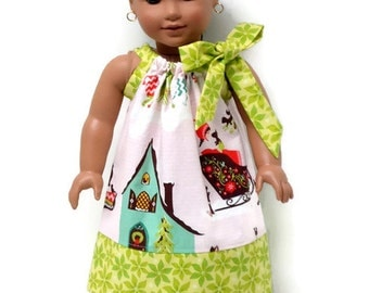 18 inch Doll Clothes Christmas Pillowcase Dress Pink Alpine Wonderland Green Poinsettia 15 inch Doll Clothes