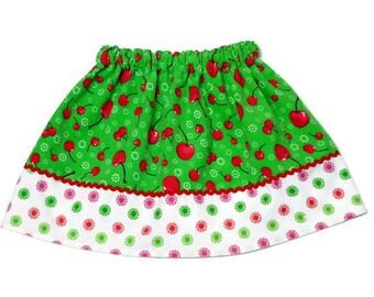 Girls Skirt Custom Boutique Corduroy Cherries Green - Size 6-12 month, 12-18 month, 2 / 3, 4 / 5, 6 / 7, 8 / 9