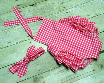 Baby Girl Ruffle Sunsuit Romper Infant Toddler Hot Pink Gingham Size 0 - 3 month, 3 - 6 month, 6 - 12 month, 12 - 18 month, 18 - 24 month