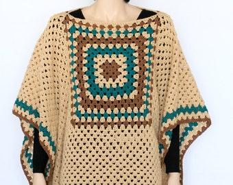 Crochet poncho pattern Indian Poncho PDF crochet pattern  Rustic Poncho Sweater  Extra Large poncho pattern PDF Cape Pattern