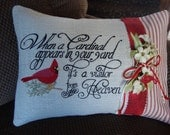 Heaven Spiritual Red Bird Throw Pillow 12 By 16 Size Machine Embroidered Lace Red Bird Burlap Throw Pillow