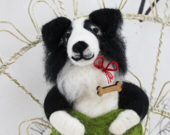 Needle felted border collie, felted collie figurine, dog lover ornament, border collie figure, custom ornament, ready to mail ornament