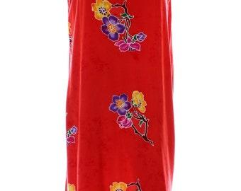 Vintage 90s Sunan Orange Red Floral Tropical Print Beach Shift Dress UK 12 US 10