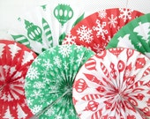 Christmas Hanging Paper Fans Christmas Rosettes Christmas Decoration Holiday Party Decoration Christmas Banner Christmas Favors New Year's