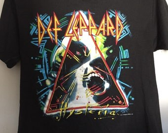 Vintage Original Def Leppard Hysteria Tour Concert 1980s Shirt Lrg