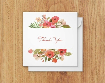 Square Thank You Card - set of 10