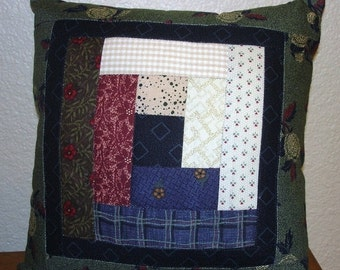 on SALE thru 8/1 SCRAPPY LOG Cabin Quilted Accent pillow 9 inch square