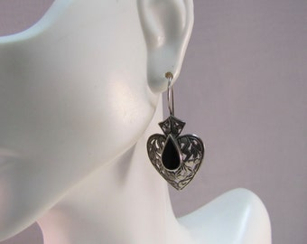 Jezlaine Styled Sterling and Onyx Heart Drop Earrings