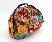 Snack Pouch, Kimono Drawstring Pouch, Gift For Her, Kimono Cotton Chrysanthemum Dark Red