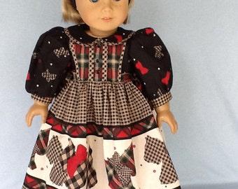 Daisy Kingdom Scotty Dog dress and headband for 18 inch dolls. Fits American Girl Dolls.