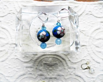 Antique Handmade Blue Cloisonne Bead & Faceted Authentic Topaz Earrings - Silver Plated Ear Wire
