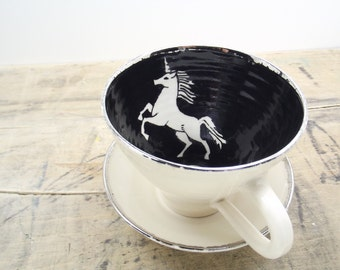 Back in stock in June**White Unicorn, Black and Silver Porcelain Tea Cup & Saucer or Mug- Wedding Gift, Hostess Gift, Gifts for Girls
