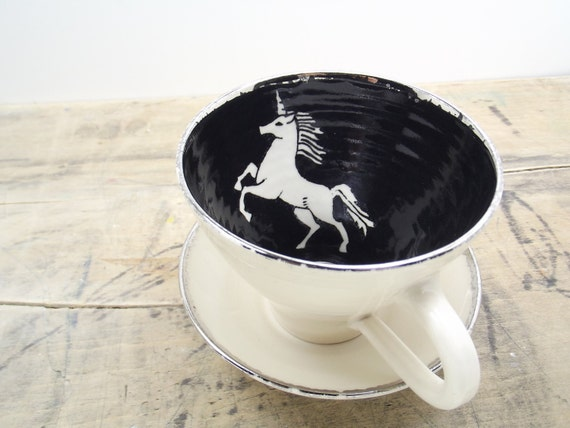 Unicorn, Black and Silver Porcelain Large Tea Cup & Saucer