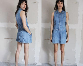 Vintage 90s DKNY Zipper Blue Denim Dress S