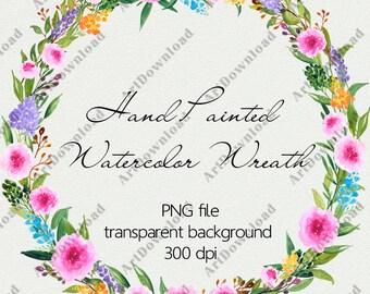 Floral Wreath Clipart - Watercolor Floral Wreath, Watercolour Hand Painted Clip Art, Digital frame, Wedding Wreath, Hand Drawn Wreath