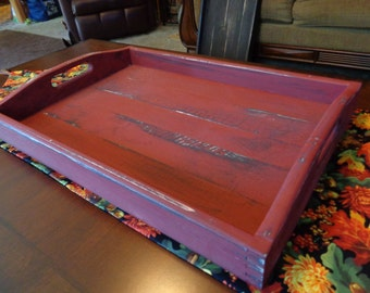 Rustic Serving Tray Rust Barn Red Table Center Piece