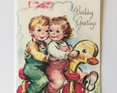 Vintage Child's Birthday Card, 1940s, Gibson Norwalk, Scripture, Boy and Girl, With Envelope, Unused, Free Shipping, Vintage Mixed Media