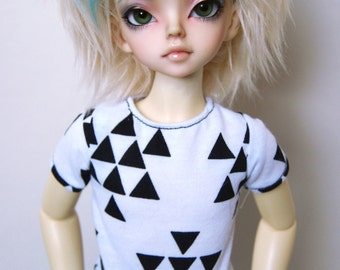 43cm Mini / MSD  Black & White Triangle T-shirt