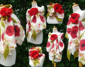 nuno felted scarf, wrap, handmade, silk, felted wool , lagenlook, art to wear, MADE TO ORDER, natural white,red
