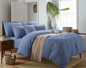 Duvet cover  100% Linen Flax Blue color - Seamless Washed Softened - Twin Full Queen King California King - Ideal for HOT climate