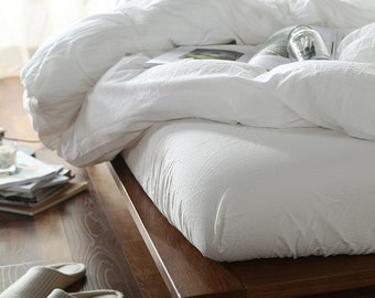100% Linen Fitted sheet White color - Seamless Washed Softened - Twin XL Single Full Queen King Cal King All size - Ideal for HOT climate