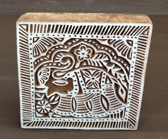 Indian elephant stamp hand carved square printing block