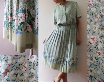 Vintage 80s Spearmint Green Floral Pleated Day Dress Small