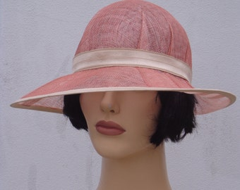 Flapper hat, old pink cloche hat, sinamay sun hat, retro hat, vintage hat, 20s wedding, great Gatsby hat