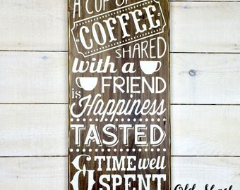 a cup of coffee, wood sign, handmade, kitchen sign, house sign, coffee addict, coffee lover (#7-004)