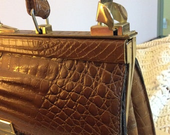 Vintage Chic Vegan Embossed Alligator Kelly Style Handbag Pecan Color