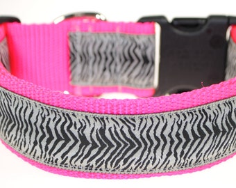 "Zebra Black, and White - Adjustable 1 1/2"" Wide Dog Collar"