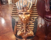 Vintage Egyptian Mummified King Tut Replica Sarcophagus Antiquity Decor Standing or Hanging