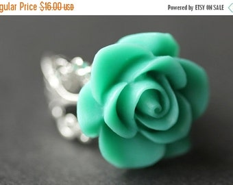 BACK to SCHOOL SALE Turquoise Rose Ring. Turquoise Flower Ring. Gold Ring. Silver Ring. Bronze Ring. Copper Ring. Adjustable Ring. Handmade