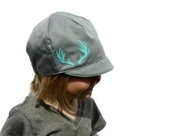 Girls Antler Hat, Feather Hat, Modern Baby Hat, Girls Grey Hat, Baby, Toddler, Child or Kids Hat -  XXS, XS, S, L, XL