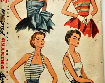 Simplicity Pattern 4320 Vintage 1950's Halter Tube top Bow Sash Bombshell Pinup Top
