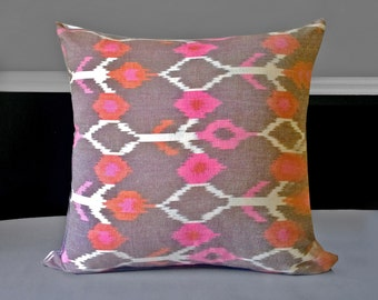 """Brown Pink Ikat Pillow Covers  21"""" x 21"""", Ready to Ship"""